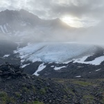 Raven Glacier in the fog