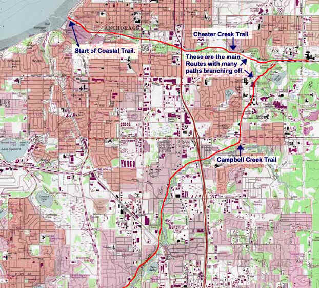 Anchorage Greenbelt Trails topo map