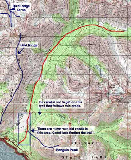 Bird Creek Trail topo map