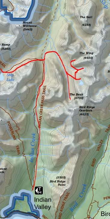 Bird Ridge Tarns topo map