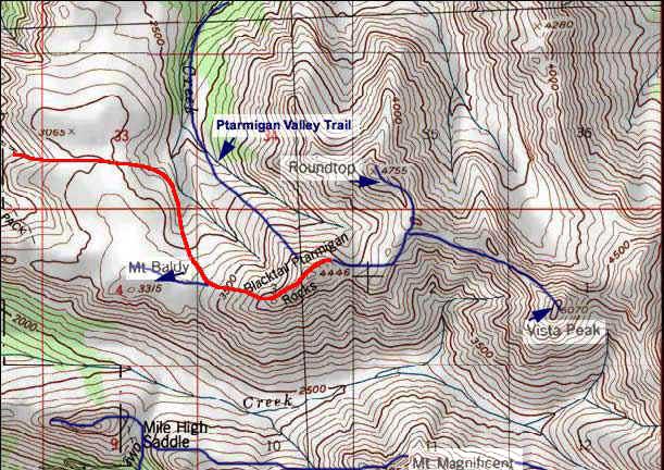 Black Tail Rocks topo map