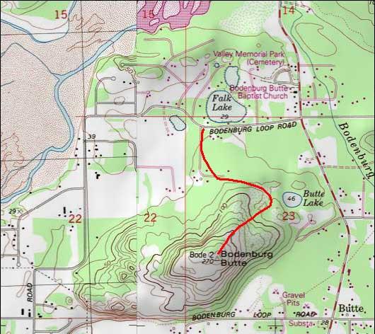 Bodenburg Butte Trail topo map