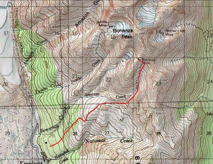 Bonanza Mine Trail topo map