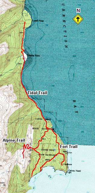 Caines Head Alpine Trail topo map