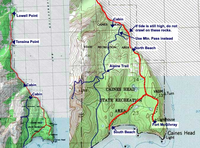 Caines Head Trail topo map
