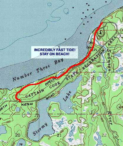 Captain Cook Beach Trail topo map