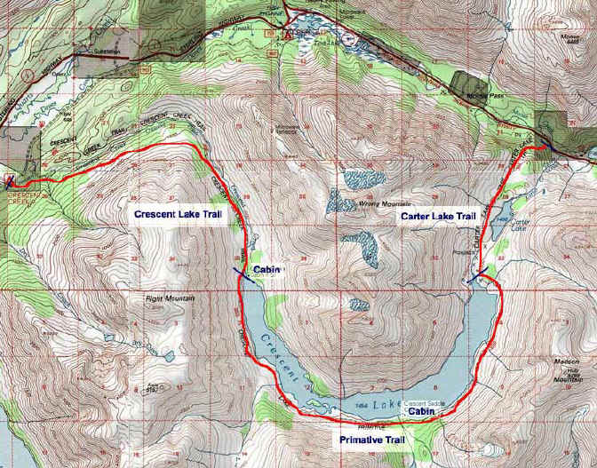 Crescent Lake topo map