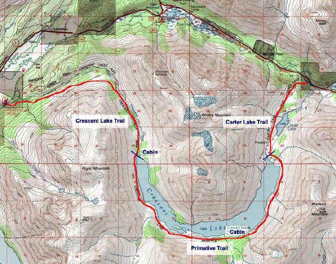 Crescent Lake topo map