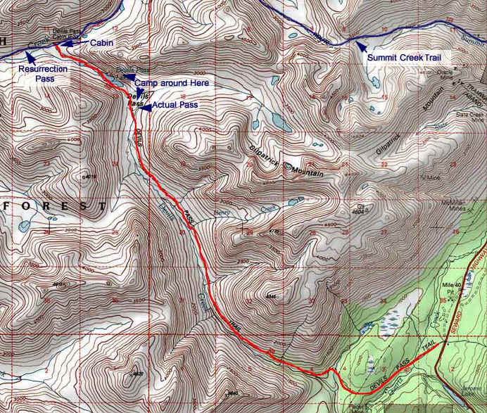 Devil's Pass topo map