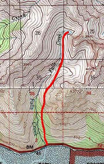 Falls Creek Trail topo map