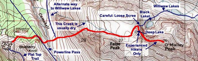Football Field / O'Malley Peak topo map
