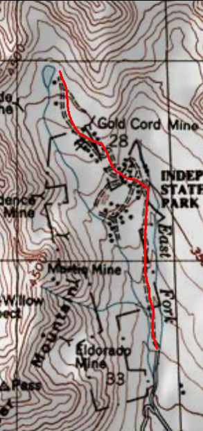 Gold Cord Lake Trail topo map