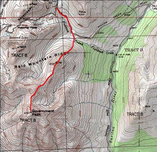 Government Peak topo map