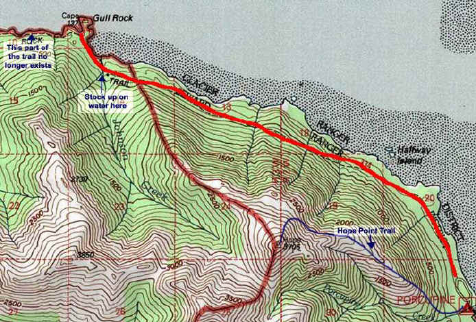 Gull Rock Trail topo map