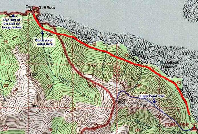 Gull Rock Trail topo map