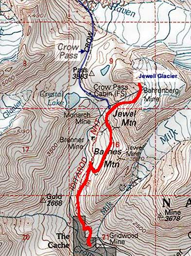 Jewell Glacier topo map