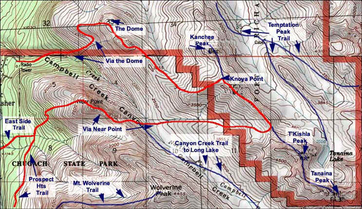 Map of Knoya Peak