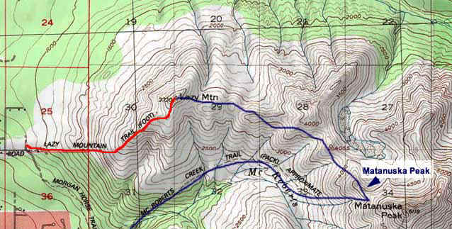 Lazy Mountain topo map