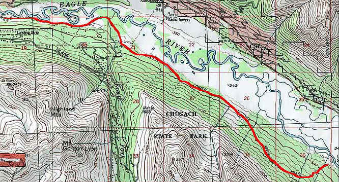 Lower Eagle River Trail topo map