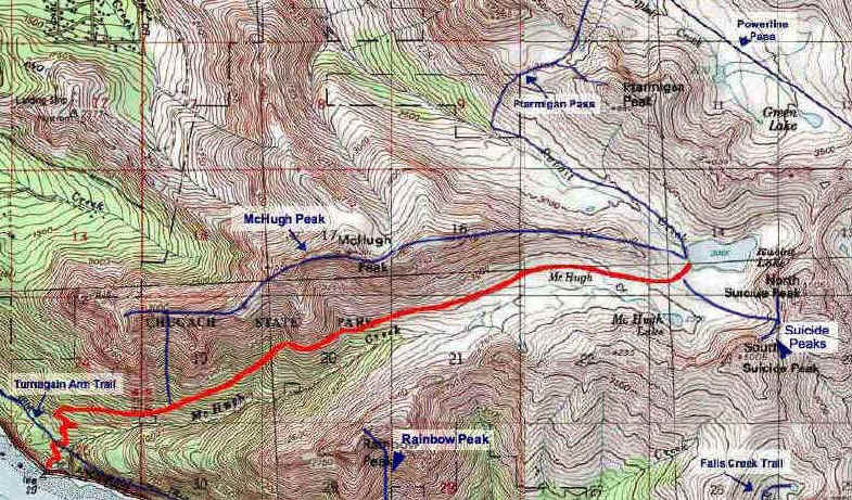 McHugh Trail / Rabbit Lake topo map