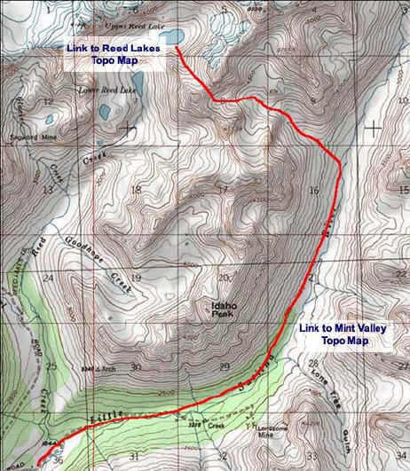 Mint Valley to Reed Lake topo map