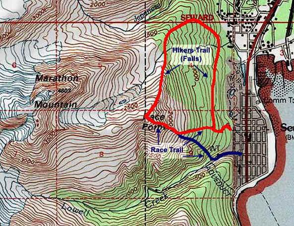Mt. Marathon topo map