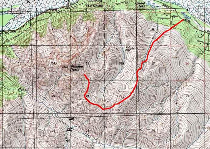 Pioneer Ridge topo map