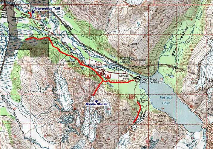 Portage Valley topo map