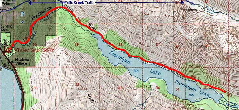 Ptarmigan Creek Trail topo map