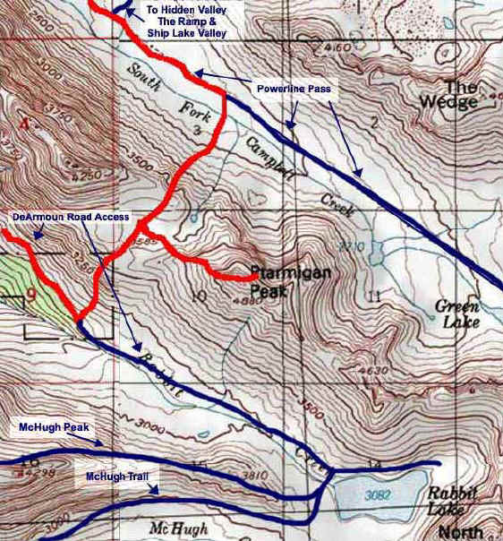 Ptarmigan Peak topo map