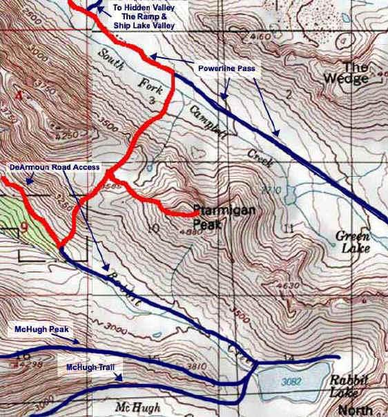 Ptarmigan Peak topo map