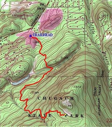 Ptarmigan Valley Trail topo map