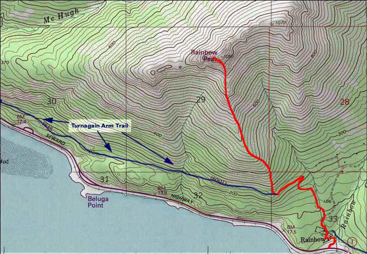 Rainbow Peak topo map