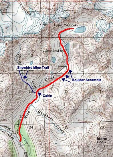 Reed Lakes topo map