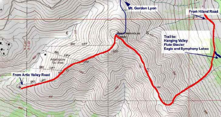Rendezvous Peak topo map