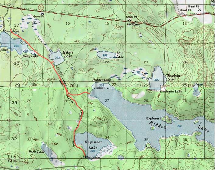 Map of Seven Lakes Trail