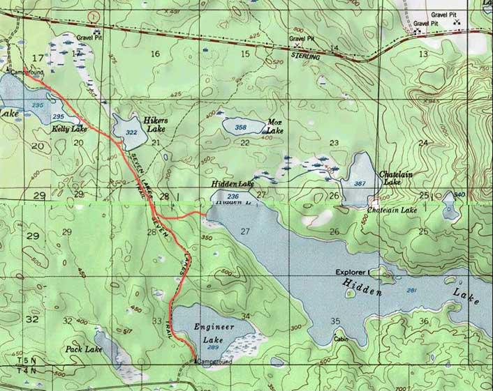 Seven Lakes Trail topo map