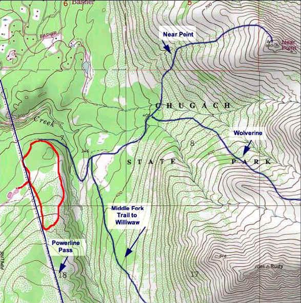 South Fork Rim Trail topo map