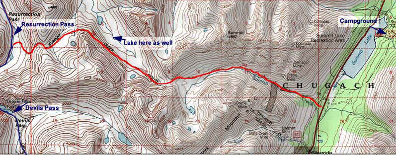 Summit Creek Trail topo map