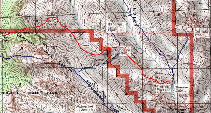 Tanaina Lake topo map