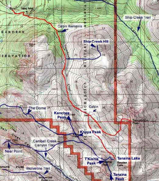 Temptation Peak topo map