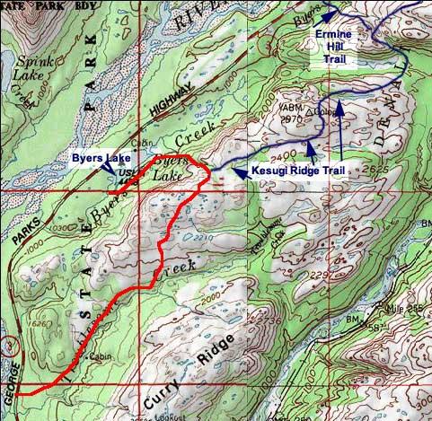 Upper Troublesome Creek Trail topo map