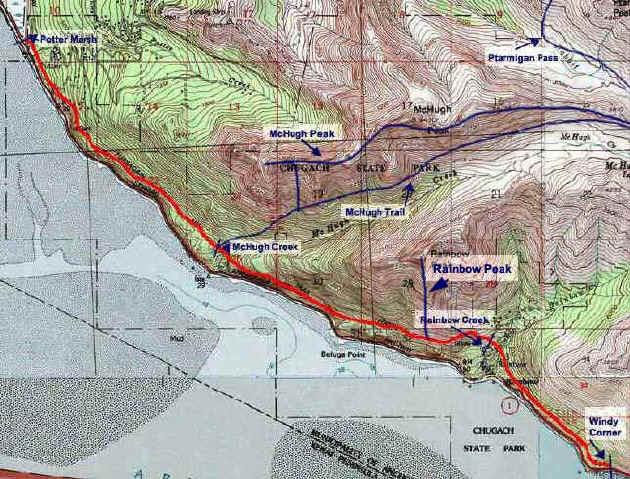 Turnagain Arm Trail topo map
