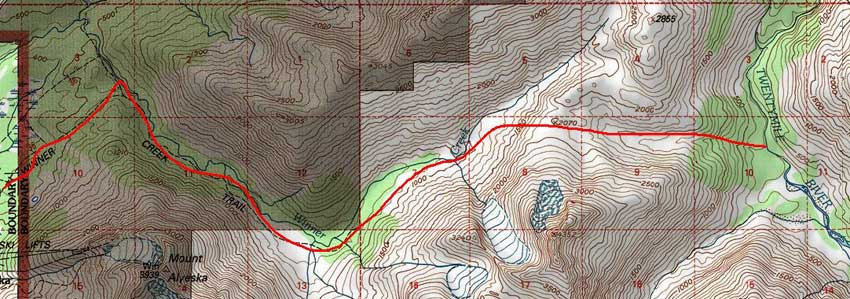 Upper Winner Creek Trail topo map