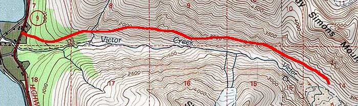 Victor Creek topo map