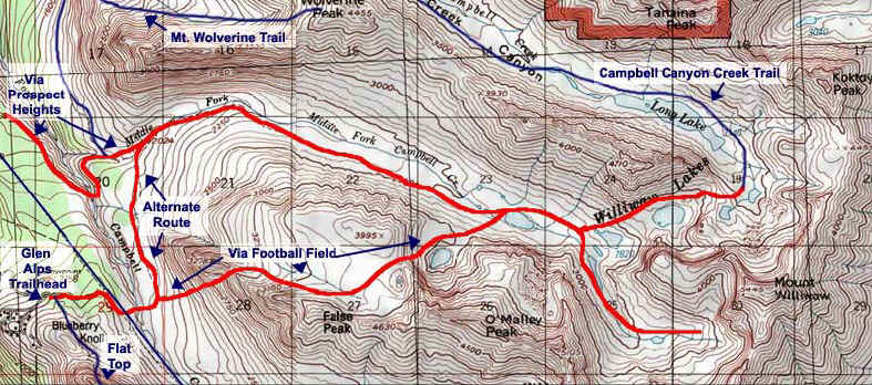 Williwaw Lakes topo map