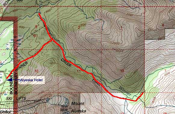 Winner Creek topo map